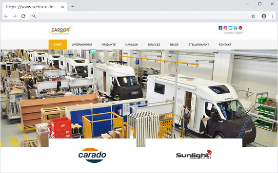 Relaunch Webseite Capron GmbH  (Erwin Hymer Group)